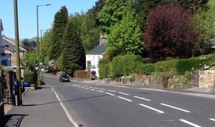 Road running through the main street in Strathblane