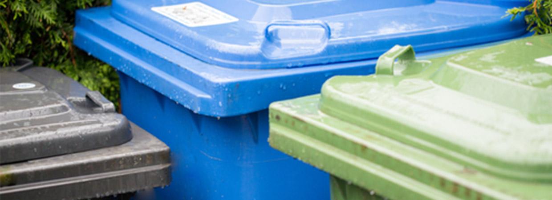 Green, blue and brown wheelie bins